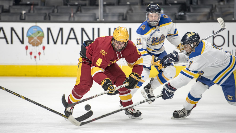 Ryan Atkinson #9 (USC) and Brandon Hsiao #7 (UCLA)