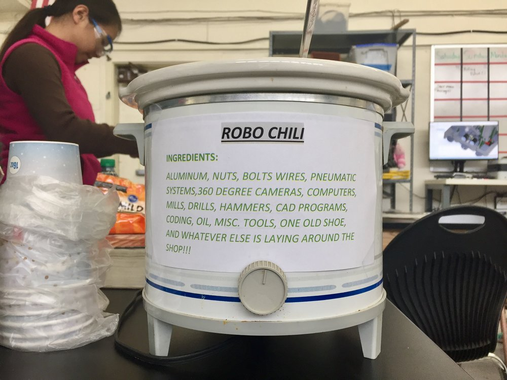 Mr. Dobry dropped off some Robo-Chili for lunch! Fitting for Superbowl Sunday.