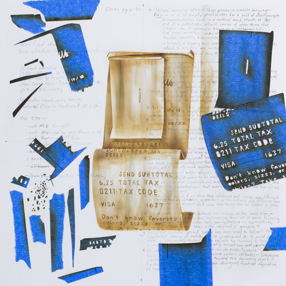 """Burn #2 (Neiman Marcus)"" - Burnt surface of paper and blue painter's tape - 2013 - 10"" x 10"""