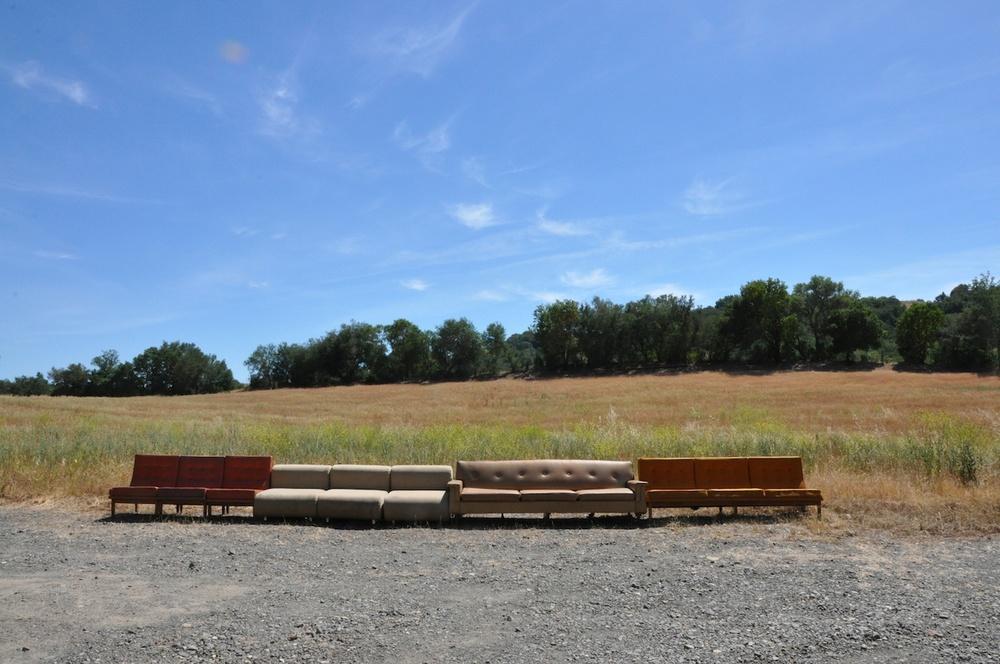 Worn , 2012  Found sofas  Chalkhill Residency, Healdsburg, CA