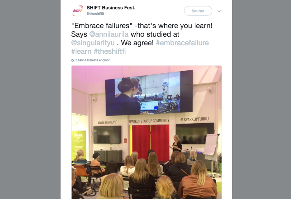 Key Lessons about Entrepreneurship@ Boost Turku - spring 2016Speech at the Turku startup hub for female entrepreneurs, topic: Key Lessons about Entrepreneurship
