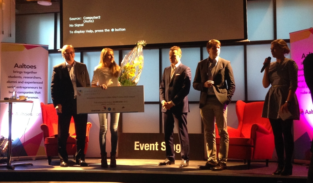 Global Impact Challenge Finland 2015 Winner - spring 2015Pitched an idea to impact a million lives with technology, won seat to SingularityU worth $29 000
