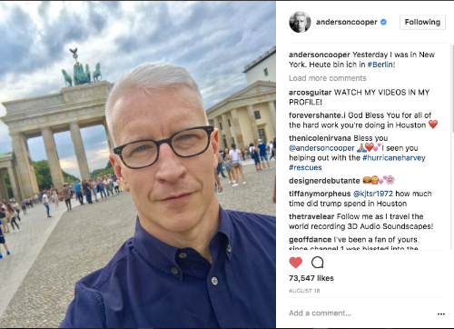 I do not know how I didn't take a picture of the Branderburg Gate when I was there, so please enjoy this selfie Anderson Cooper took when he was there the same day as me (seriously we missed him by an hour)