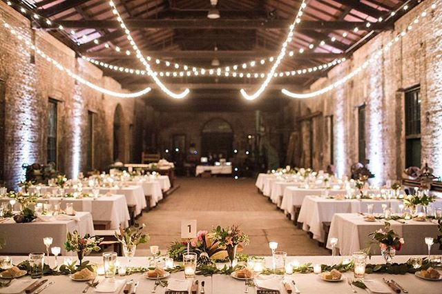 Sharing 5 industrial chic #savannahwedding venues on the journal. Link in profile!  Wedding Vendors: Photography @aptbphoto  Day of Coordination/Florals @ivoryandbeau Rentals @amazingeventrentals  Lighting @advanced_av  Catering @jthomascatering  Venue @coastal_heritage_society Georgia State Railroad Museum