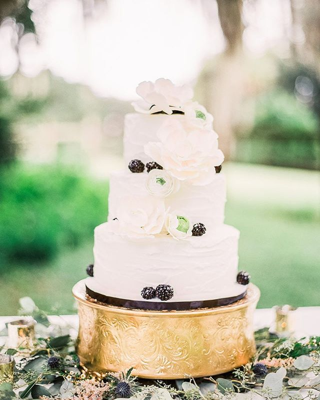 Anyone else adore a classic white #weddingcake? We're highlighting white wedding cakes with a twist (like this beauty by @wickedcakesofsavannah) on the journal. Link in bio!  Wedding Vendors: Cake @wickedcakesofsavannah  Photography @vitorlindophotovideo  Florals/Styling @carlsonspremierevents Venue @redgatefarms