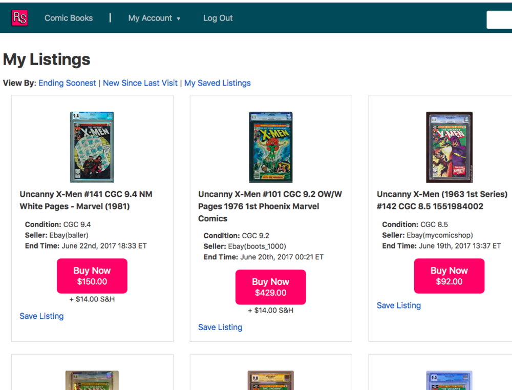 Find the Best Deals - Each day we scour eBay to find active listings for virtually every comic made by a major publisher. The Listing Feed is where you'll find all of the active listings that match your want list. Save listings, compare prices/conditions, and make the best decision possible.When you are ready to buy, just click the Buy/Bid Now button make the purchase on eBay.