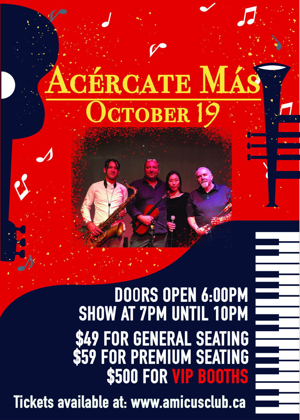 Acércate Más - Amicus Club Performing Arts presents Acércate Más at The Columbia this Friday, October 19th 2018.Join us at our newly renovated Amicus Club for an evening of jazz with influences from all over the world.Acércate Más band and its talented members bring you an unforgettable and eclectic music experience.Masumi's rich vocals take you to another world of unique blend of jazz, while Lamar Alviar, Jorah Kauffman and Barry Baldwin provide the complex instrumental atmosphere.Purchase Tickets below