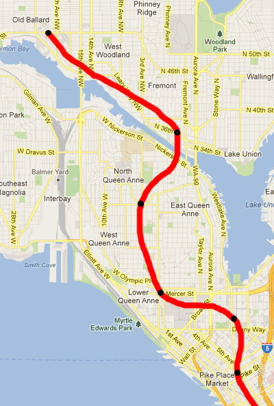 Red line represents subway route, black circles represent station locations.