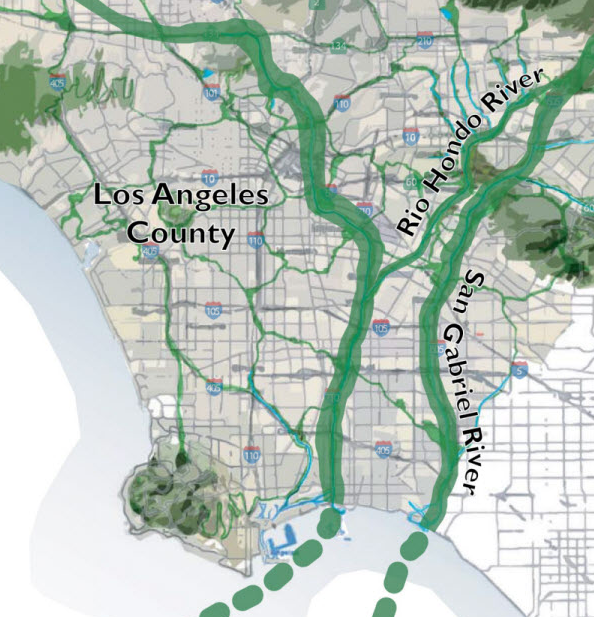 In the Emerald Necklace Vision Plan, green space connects residents throughout Los Angeles. Image from Amigos de los Rios.
