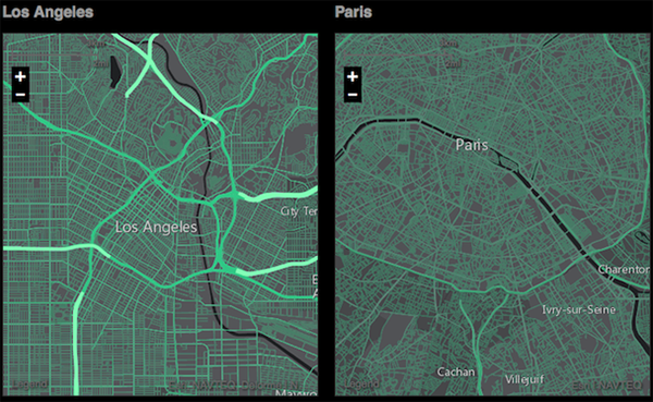 "Comparison of the road networks in LA and Paris using the new tool ""Urban Observatory."""