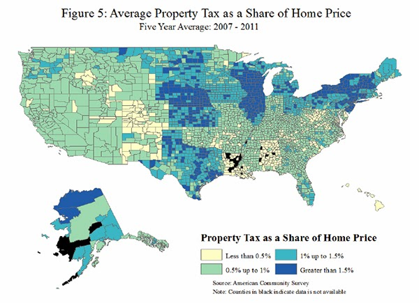 Useful Map of Property Tax Rates Across the Country with some