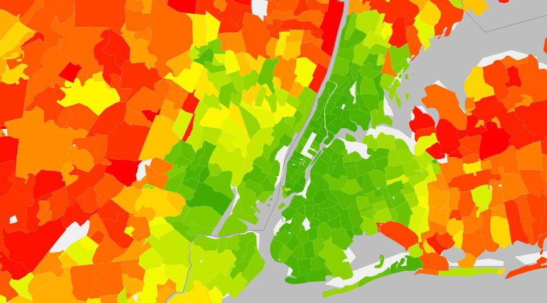 "Average annual carbon emissions per household in the New York metro area. Dense, ""dirty"" New York City produces about half as many emissions, per household, as the ""green"" suburbs beyond. Image from Berkeley's CoolClimate maps site."