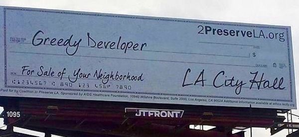 Billboard paid for by the Coalition to Preserve LA, the anti-growth organization backing the Neighborhood Integrity Initiative.