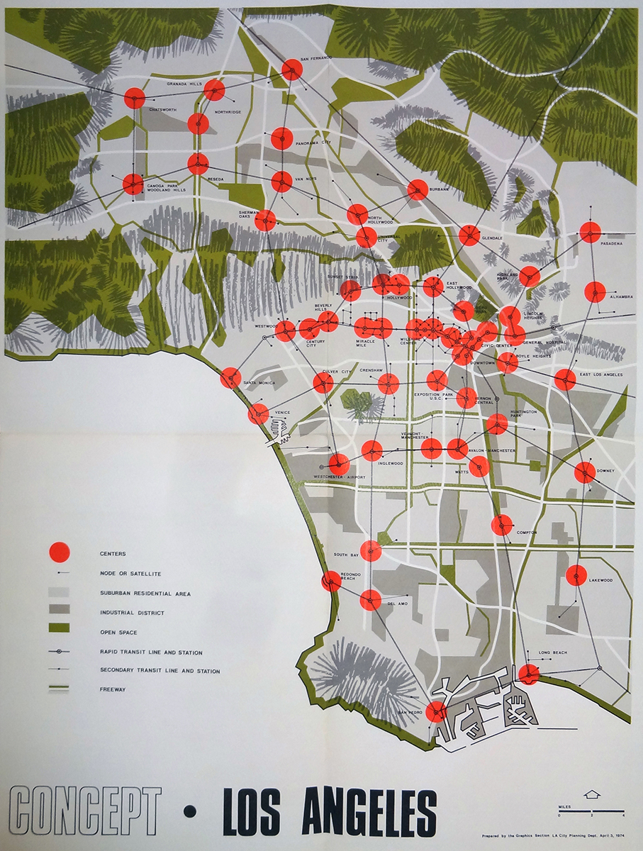 A concept plan for the polycentric growth of Los Angeles, approved in 1974. Proposition U made the development of many of these corridors illegal, making the plan impossible to implement. Image from Recode:LA.