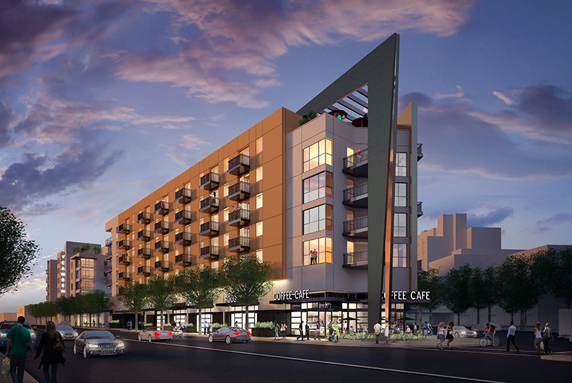 Rendering of TCA Architect's Camden Glendale apartments, which received a 32.5% density bonus in exchange for building a number of affordable units.