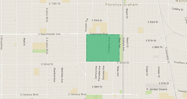 "A hypothetical ""Great Park"" area bounded by Firestone Blvd, Graham Ave, E 92nd St, and Hooper Ave, immediately adjacent to Firestone Station on the Metro Blue Line."