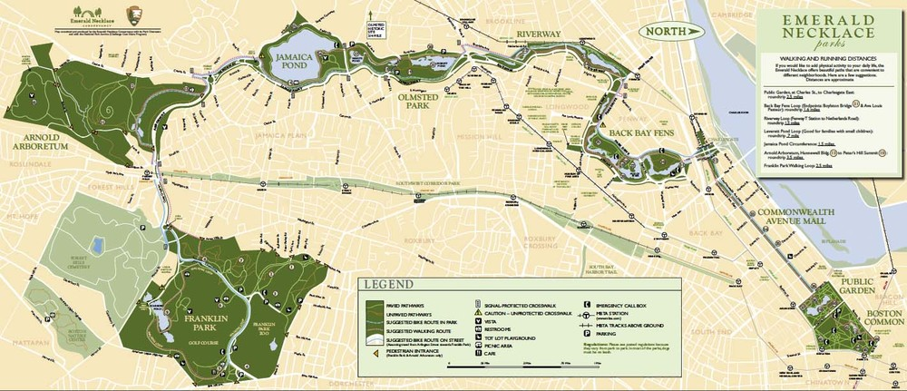 A map of the Emerald Necklace parks and parkways stretching throughout Boston.
