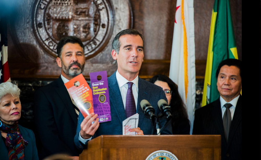 Mayor Garcetti announces an informational campaign on rent stabilization spearheaded by his office, Home For Renters.