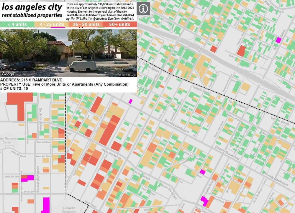 A work in progress map of all the rent-stabilized units in Los Angeles, being put together by Omar Ureta at theworks.la.