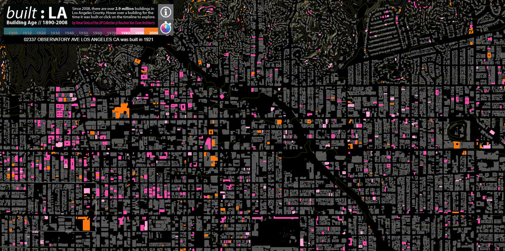 A screencap from  Omar Ureta's Built:LA map , highlighting all of the buildings constructed between 1980 and 2008.