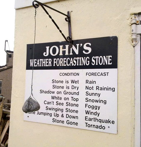 Source: http://www.funnysigns.net/johns-weather-forecasting-stone/