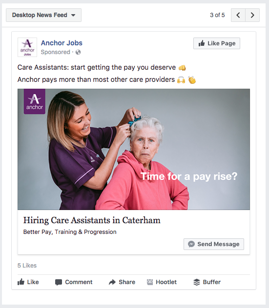 An example of our Facebook ads