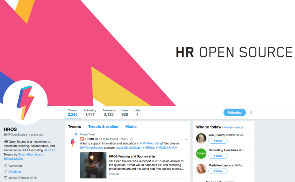 Follow @HROpenSource and #HROS on Twitter