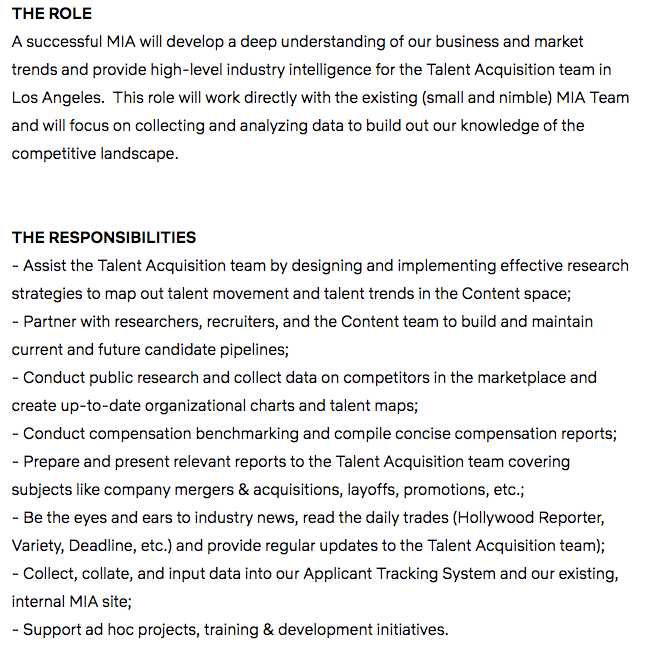A sample Market Intelligence Analyst job description