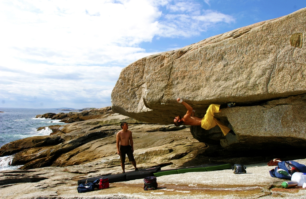 Amir Fishman bouldering on Dover Island, Nova Scotia