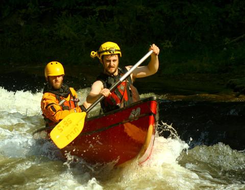 Eric Plant crushing the turbulent chute of the Elora Gorge