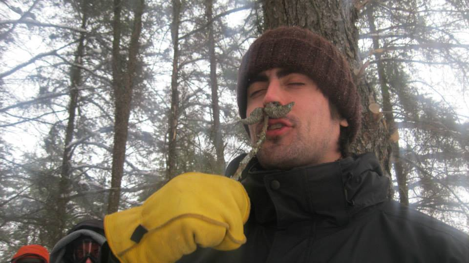 Mitch Taylor creating an insta-mustache on a winter camping trip