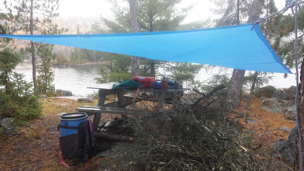 Not the best quality of tarp, but even a poor quality tarp can keep you dry if set up properly.