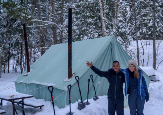 A Prospector Tent fully set up with two stoves.