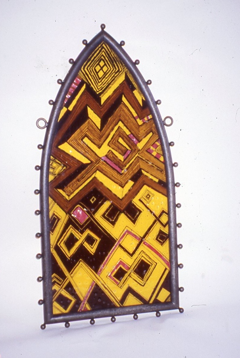 GothicKubaWindow Panel 3, 1995-1996,21Wx41H,stained glass, paint,wire cloth, steel-CUNY.jpg