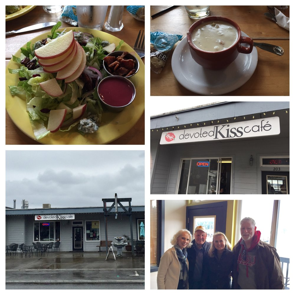 Just a tiny place you could easily drive by but so good! Fantastic clam chowder and a delicious salad with apple, Gorgonzola cheese, bacon and candied pecans for me.