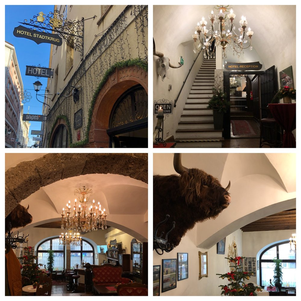 Many of the buildings are built right into the mountains that circle Salzburg and right behind the reception desk of our hotel there was a huge rock! No going out the back door here.