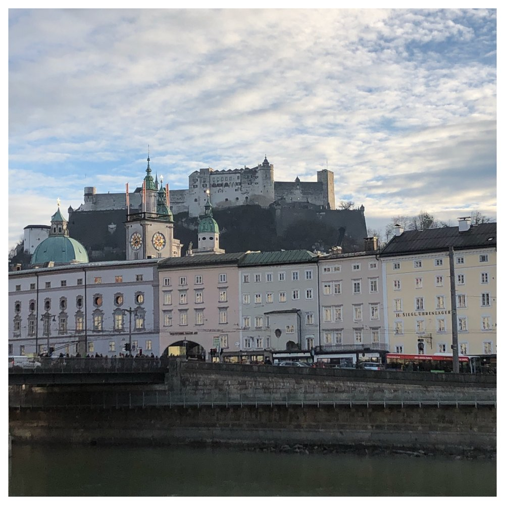 The huge Hohensalzburg Fortress looming over town.