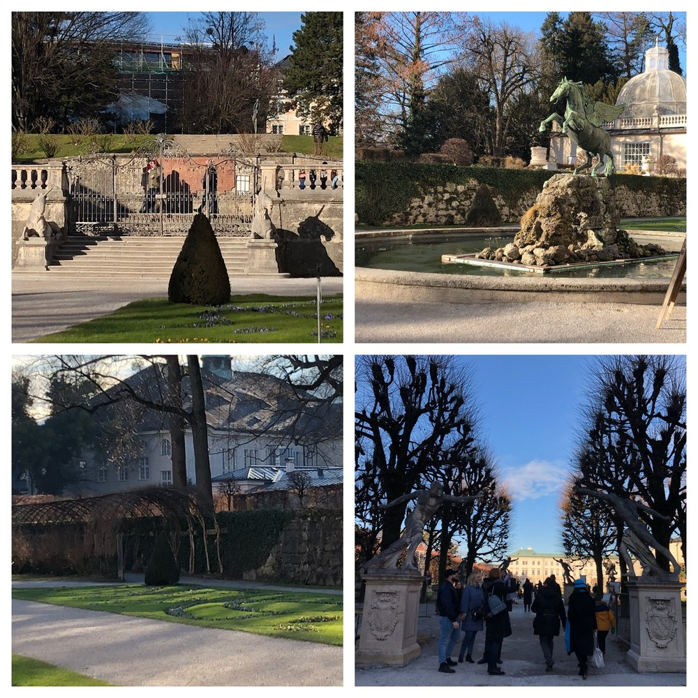 Top left - the steps they jumped up at the end, Top right - the fountain they ran around, Bottom right - the statues they mimicked, Bottom left - the arbor they ran through. It's all there!
