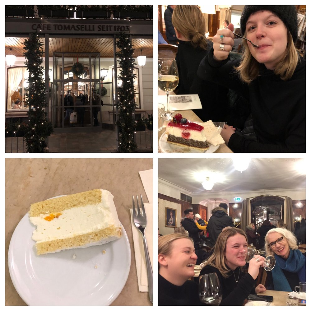 Having our Mozart moment - packed but still fun. Desserts and wine!