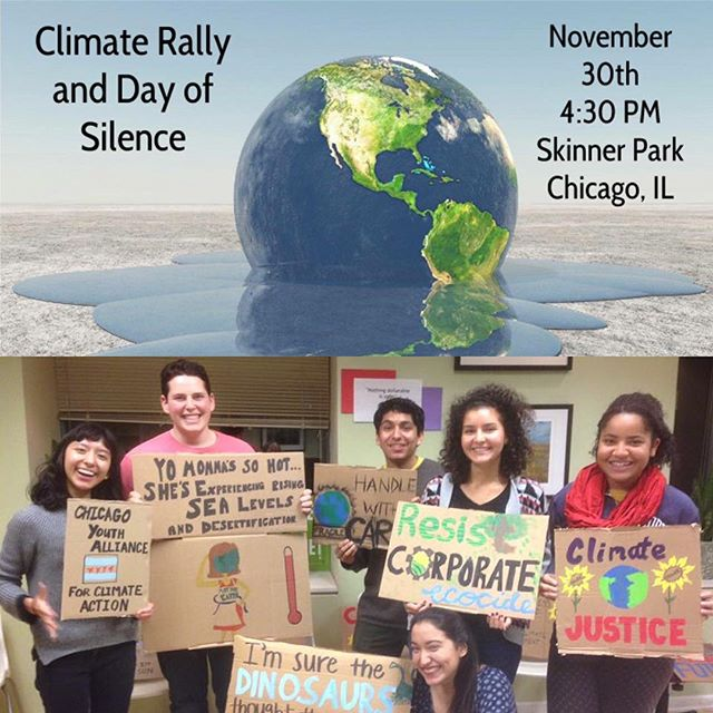 Check out the board getting ready for the Climate Rally tomorrow at Skinner Park at 4:30!