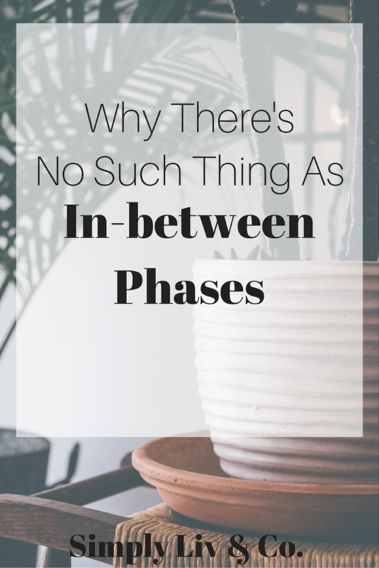 "When you're trying to live a simple life, oftentimes you can get discouraged by the ""in between phases"". Here's why they shouldn't exist in your mindset."