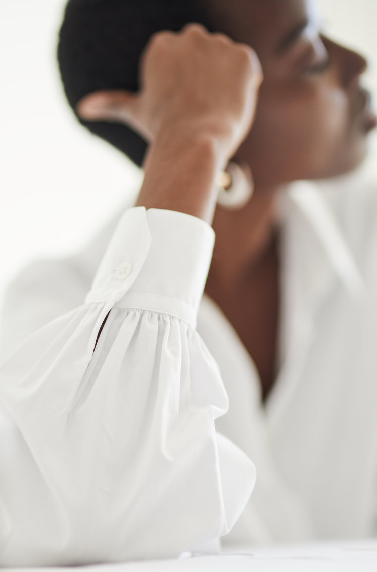 GRAMMAR_SPLITINFINITIVE_white shirt by Grammar NYC sustainable fashion organic cotton Simply liv & co Olivia Youngs