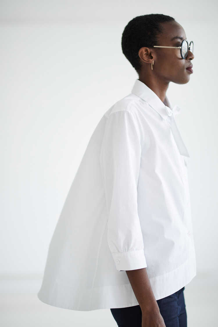 GRAMMAR_PREPOSITION white shirt by Grammar NYC sustainable fashion organic cotton Simply liv & co Olivia Youngs
