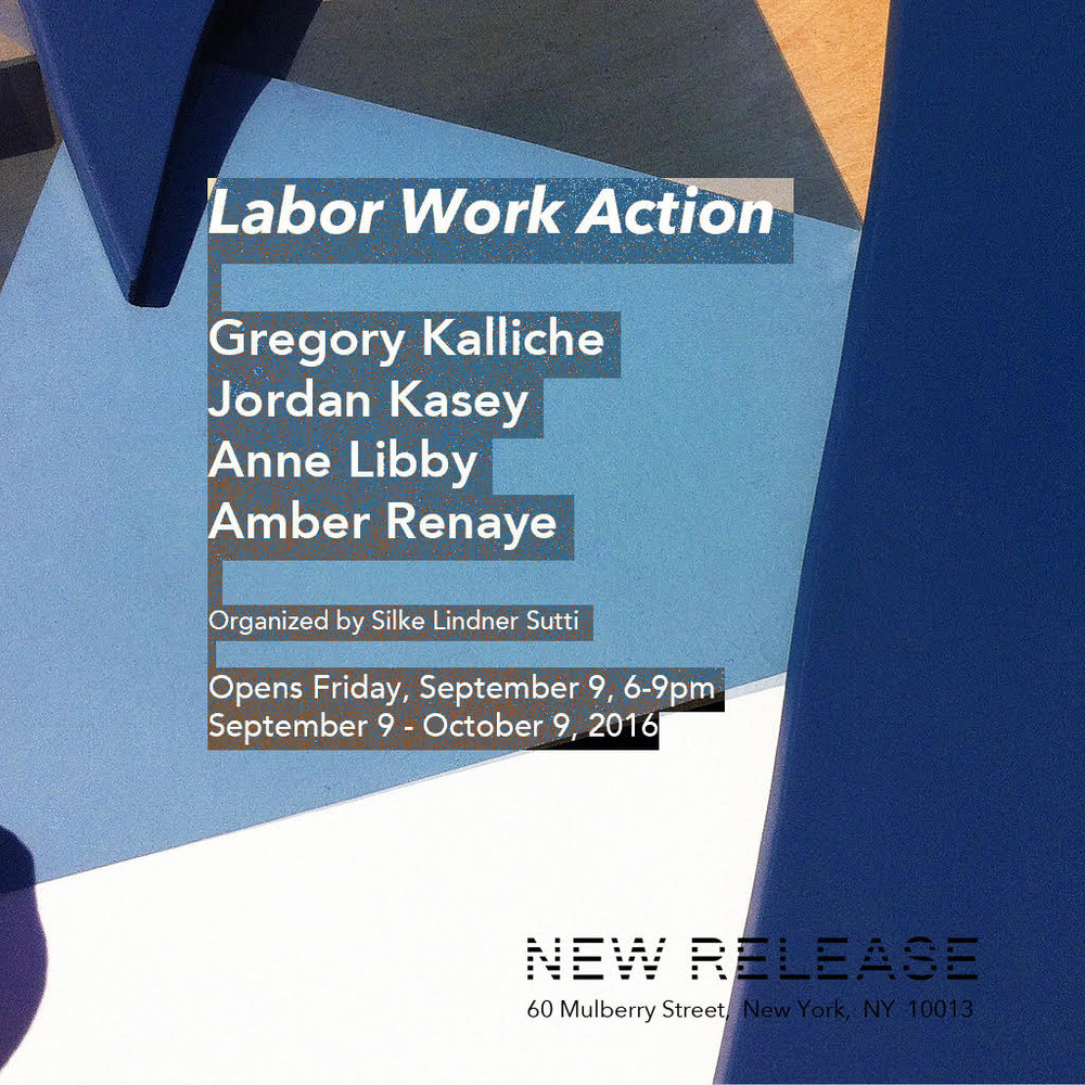 "LABOR WORK ACTION Gregory Kalliche, Jordan Kasey, Anne Libby, Amber Renaye Organized by Silke Lindner Sutti September 9 - October 9, 2016 _____________________________________________________________________________________________ LABOR is the activity which corresponds to the biological process of the human body […] The human condition of labor is life itself. WORK is the activity which corresponds to the unnaturalness of human existence, which is not embedded in, and whose mortality is not compensated by, the species' ever-recurring life cycle.  Work provides an artificial world of things, distinctly different from all natural surroundings. ACTION is the only activity that goes on directly between men without the intermediary of thing or matter, corresponds to the human condition of plurality […] Plurality is the condition of human action because we are all the same, that is, human, in such a way that nobody is ever the same as anyone else who ever lived, lives, or will live.                                                                                                                                                                                                                                                                                                                                                Hannah Arendt, The Human Condition, 1958 _________________________________________________________________________________________                 In The Human Condition, Hannah Arendt asserts that human life on earth consists of three fundamental activities: labor, work, and action. This exhibition features work by Gregory Kalliche, Jordan Kasey, Anne Libby, and Amber Renaye that place themselves within these fundamentals. Addressing the automatization of everyday life, the dualism of nature and technology, and the interaction of our shared space on earth, all works connect through the human activity of work that distinguishes the human as homo faber: the creator of an artificial world of things who is able to determine his fate through tools. The Human Condition was published almost 60 years ago, at a time when one could only guess how technology would dominate the future. Arendt's certainty and clarity in which she predetermines the development of technological extensions of the human brain and body are remarkable. The works in the exhibition combine these still valid fundamentals of activities while positioning them in new perspectives on technology. Anne Libby's sculptures  explore the relations of labor, mass production and technology. Using a CNC router - a computer controlled cutting machine - Libby combines and contrasts the characteristics of plywood and Formica. Formica, a highly industrial and durable material usually used for work surfaces and countertops - is shaped into ornamental flowers drawn from reproductions of Art Nouveau designs. The way the Formica droops off the plywood creates a wilting quality that highlights the fragile shift from manual labor to mass manufacturing at the beginning of the 20th century.   Jordan Kasey's paintings explore the tension and interaction of the shared space of matter and physicality. Not togetherness but distance and solidarity are palpable in the space they occupy. Monumental larger-than-life figures spill out over the edges of the canvas. TV Dinner (2016) shows the back of a figure whose own interactions are paused while watching the acts of others. Amber Renaye's audio piece Four Four (2016) and corresponding wall-bound sculptures contemplate how ""life is managing life"". Here, the necessity of walking - placing one foot in front of the other - is emblematic for labor as automated activity. Rather than walking a straight line from A to B the steps give room for the space in-between. The dualism of nature and artificiality is epitomized in a dinosaur-human hybrid in Gregory Kalliche's video Last Chance (2016). The video is named after the Heaven's Gate cult's video appeal Last Chance to Evacuate Planet Earth Before it is Recycled (1997) recorded shortly before the group's collective suicide. In an inner monologue the humanized character of Last Chance attempts to overcome the 'imprisonment to the earth', escaping the human condition in favor of a yet undiscovered man-made condition."