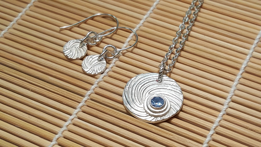 Silver Clay Necklace and Earrings