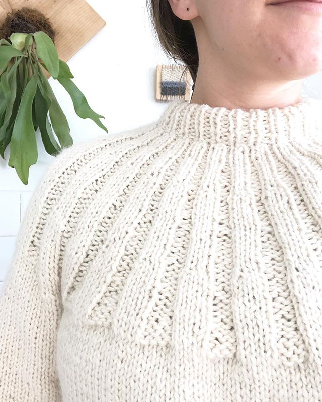 """Loving this #sundaysweater so much I have yet to block it or finish weaving in a few ends.  In the words of great-great-Uncle Fred, """"No one's going to see that anyway."""" Only he applies it to carpentry work but I think it's better suited to knitting. 😂  In other news: it looks like my #staghornfern could use some water. 🌱 🚿 . . . #knittersgonnaknit #imademyclothes #memade #whiteonwhite #plantsmakemehappy"""