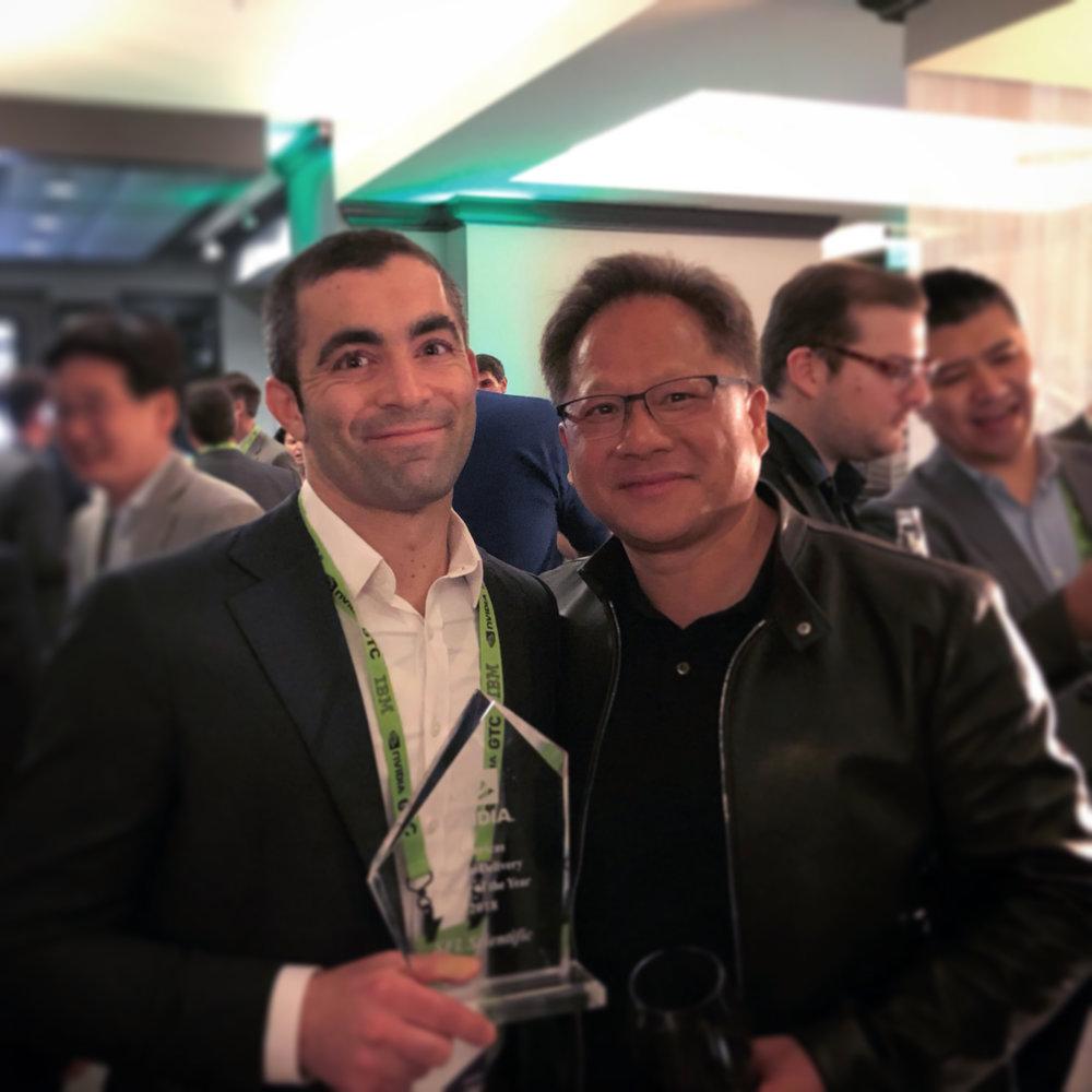 Michael Segala with Jensen Huang, CEO, NVIDIA at GTC 2019
