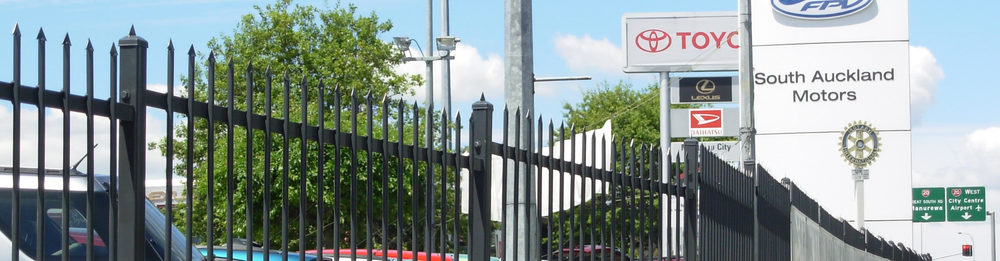 South Auckland Motors - powder coated wrought iron security fencing