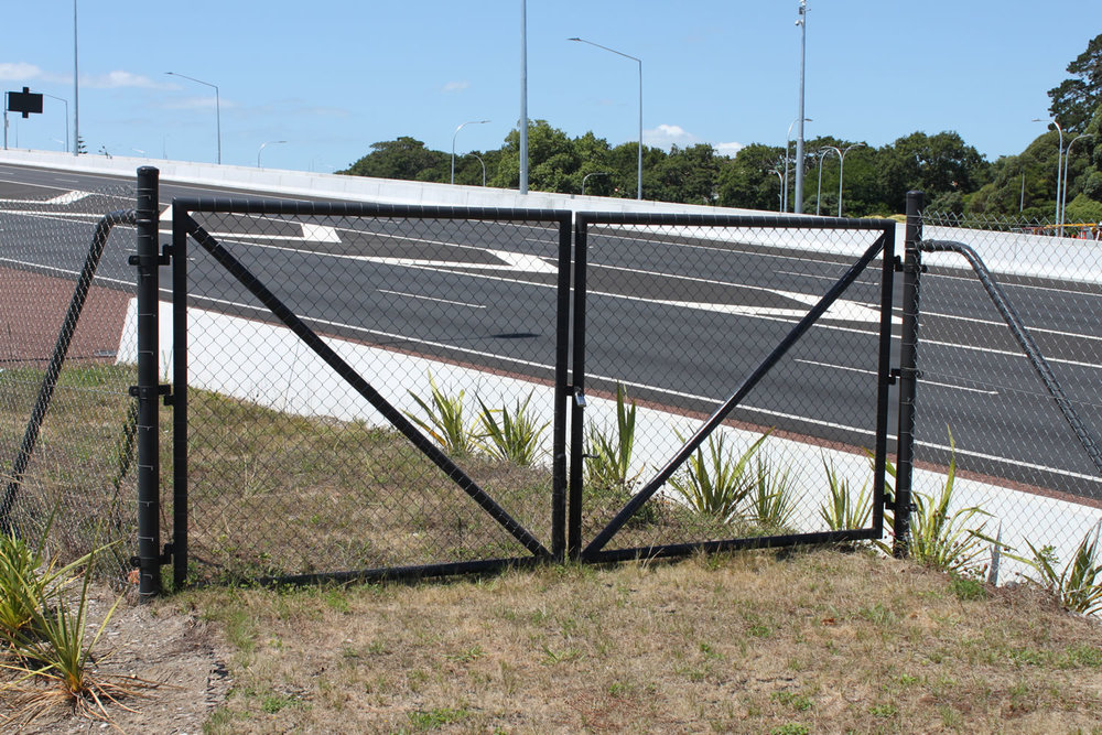 Waterview Connection Custom Fabricated Pipe & Mesh Chainlink Gates .jpg