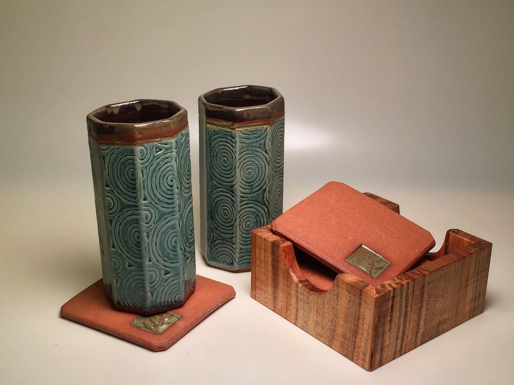 Tumblers, Coasters, and Tiger Maple Box